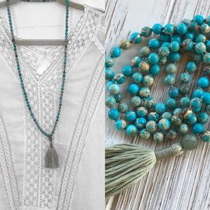 Gemstone Mala, Tassel Necklace, sea sediment jasp.
